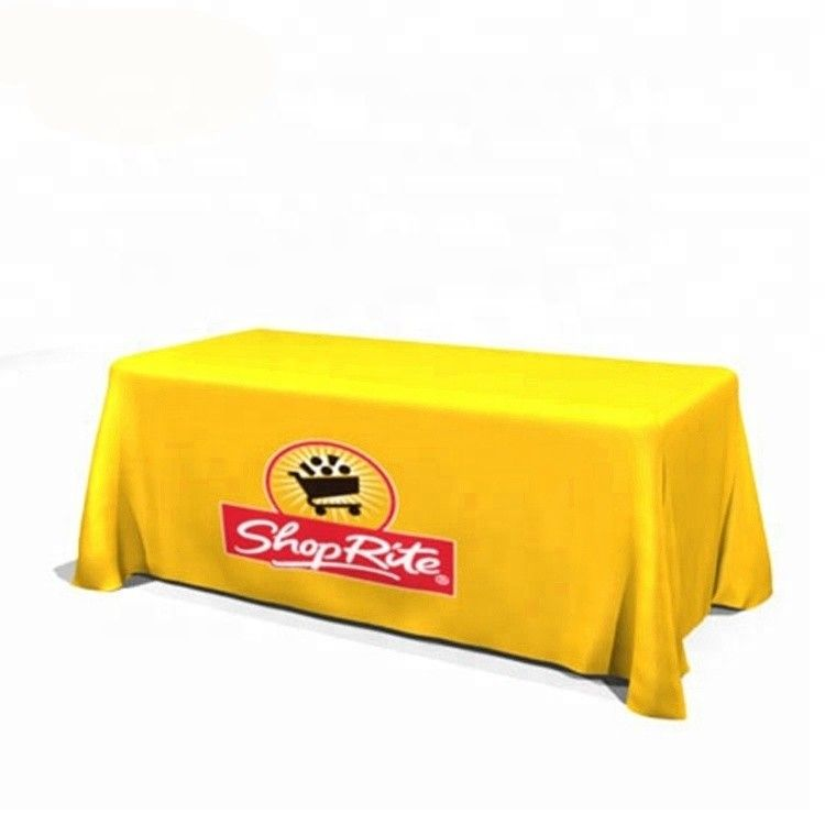 Waterproof Custom Trade Show Tablecloth Square Shape Hollow Out Back