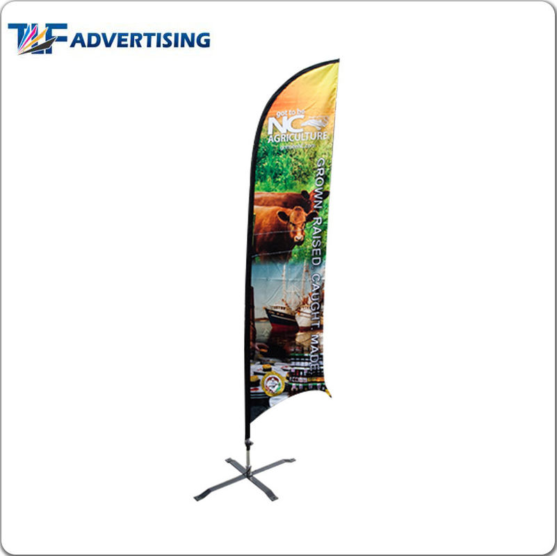 China Polyester Fabric Custom Flag Banners , Roadside Advertising Banners Fiberglass Pole factory