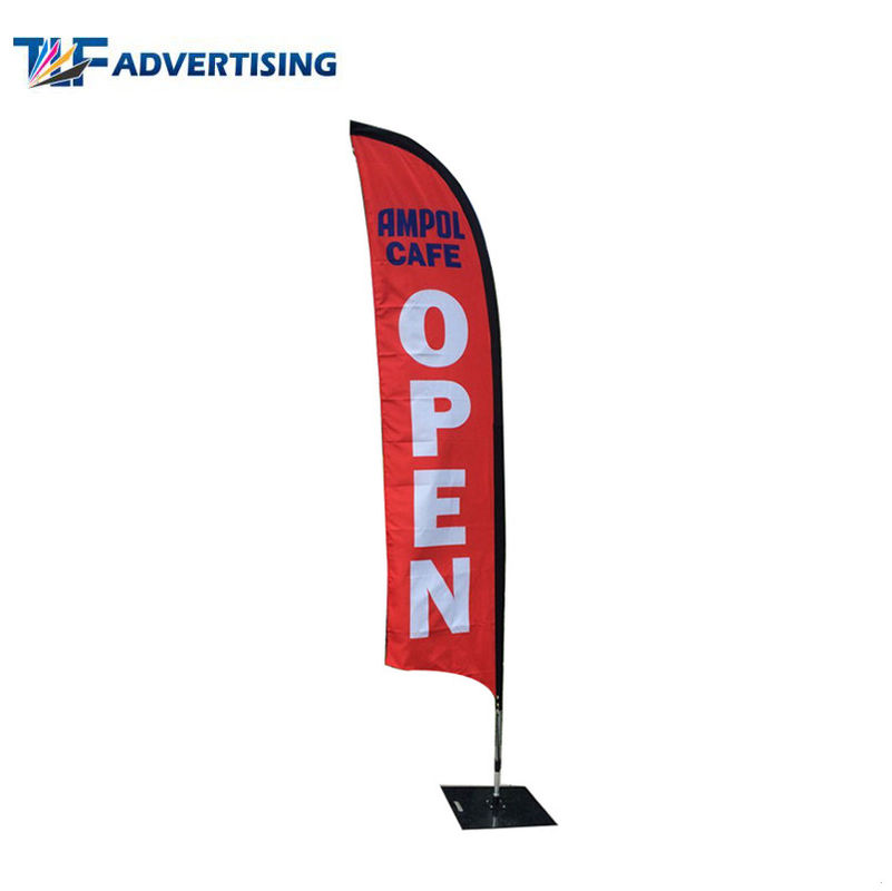 China Single Side Outdoor Advertising Flags No Loose Edges Heavy Steel Base With Elastic Cord factory