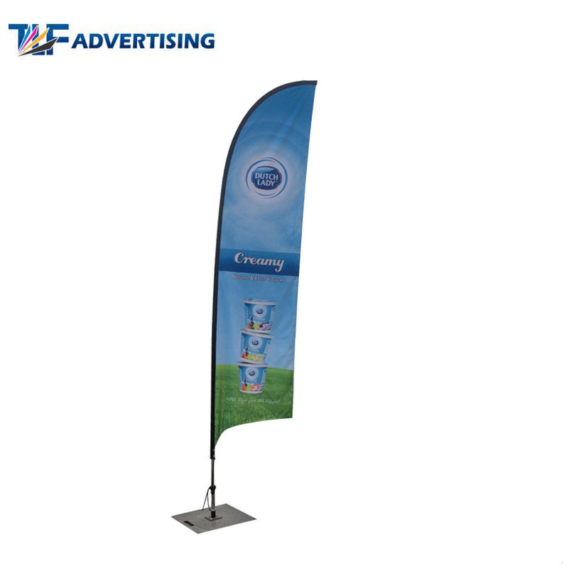 China Blade Shape Custom Flag Banners 110g Knitted Polyester Free Artwork Design factory