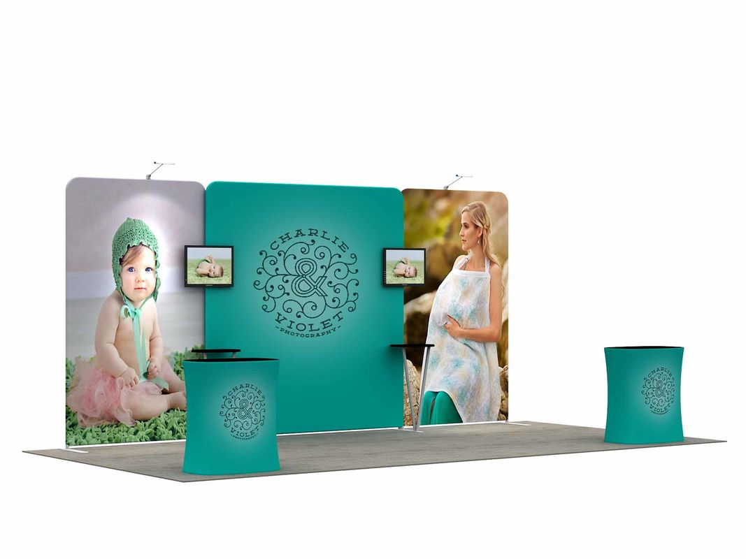 China Aluminum Profile Trade Show Booth Displays Collapsible User Friendly Free Booth Designs factory